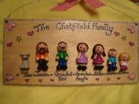 7 CHARACTER 3D PERSONALISED FAMILY WELCOME HOME SIGN HANDMADE PERSONALISED & UNIQUE PLAQUE OOAK